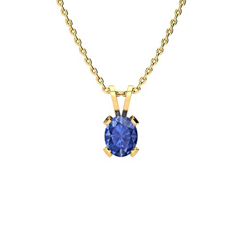 3/4 Carat Oval Shape Tanzanite Necklace In Yellow Gold Over Sterling Silver, 18 Inches