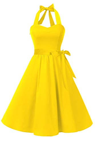 - Topdress Women's Vintage Polka Audrey Dress 1950s Halter Retro Cocktail Dress Yellow M