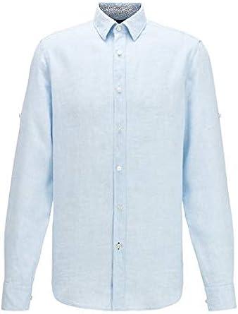 Hugo Boss Camisa Regular Fit de lino Chambray Light Pastel ...