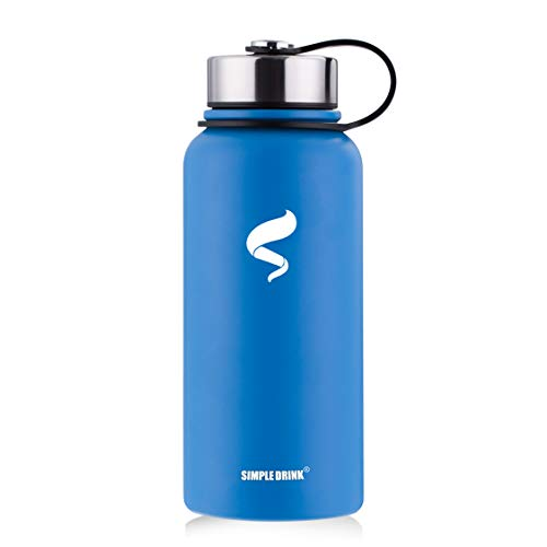 SIMPLE DRINK Stainless Steel Insulated Water Bottle - Wide Mouth Leak Proof Vacuum Outdoors Coffee Mug - Ice Cold Up to 24 Hrs/Hot 13 Hrs Double Walled Flask - Laser - Bottle Drink Vacuum