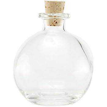 Nakpunar Spherical Clear Glass Bottle, 8.5 Oz. w/Cork - ball bottle, round bottle for oils, witch spells, wedding favors, bath bubbles