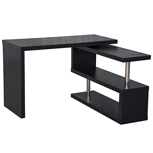 HomCom 360 Degree Rotating Office Desk and Shelf Combo - Black