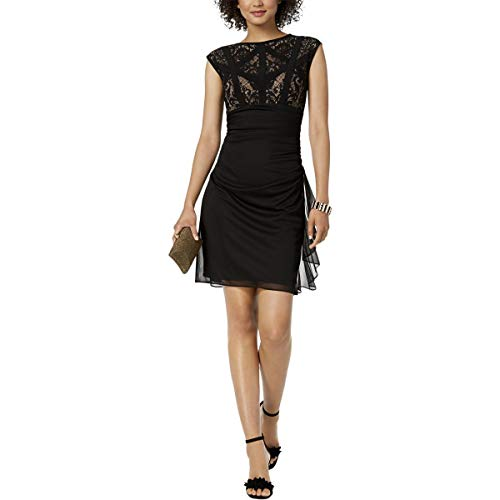 Betsy & Adam Womens Dress Caged Lace Ruffle Ruched Draped Black 12