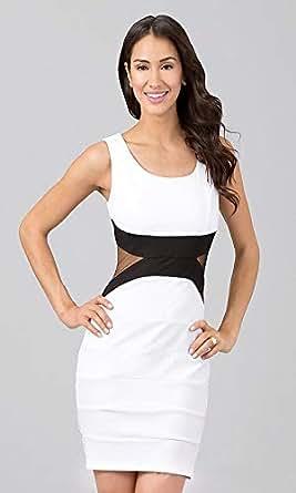 Ladies Women Round Neckline High Waist Sleeveless White Mini Dress Summer Evening Party Outing Dress
