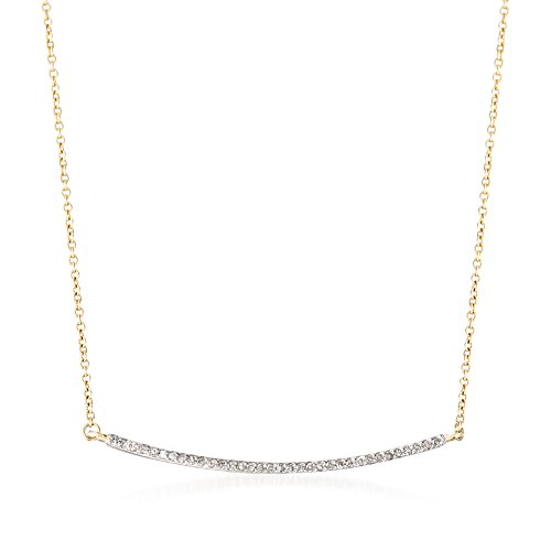 Ross-Simons 0.10 ct. t.w. Diamond Curved Bar Necklace in 14kt Yellow - Curved Necklace Gold White Diamond