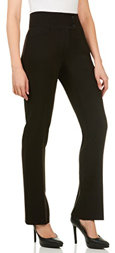 Velucci Dress Pants for Women - Womens Slight Bootcut Office Wear Ladies Pant Black-S (Bootcut Pants Dress)