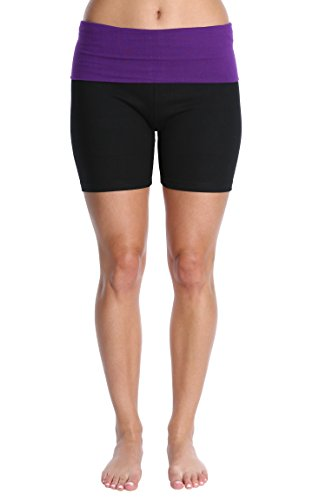 - Nouveau Women's Workout Active Yoga Shorts w/Fold Over Waistband - Ladies Casual Loungewear