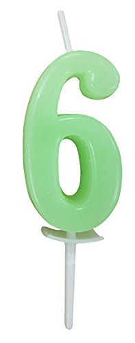 Willcan colorful numeral birthday candles, classic number 6