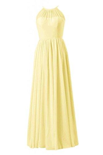Daisyformals Longue Robe De Soirée Décolleté Illusion Robe De Demoiselle D'honneur En Mousseline De Soie (bm5197l) N 24 Banane