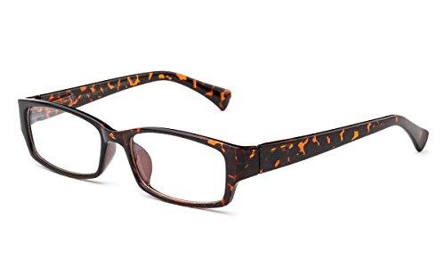 Newbee Fashion - Muir Slim Squared Spring Hinges Fashion Clear Lens Glasses Tortoise