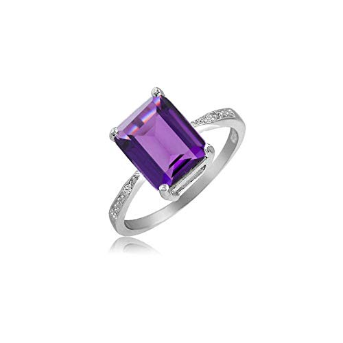 - Verona Jewlers 925 Sterling Silver Emerald Cut Genuine Gemstone Ring for Women- Available in Various Styles and Sizes (9, Amethyst)