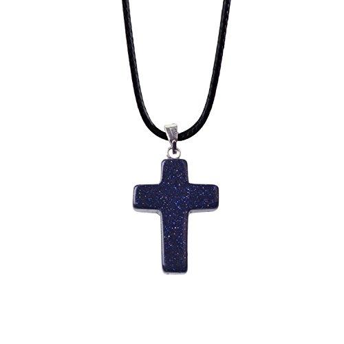(ZHEPIN Bless Gems Cross Pendant Necklace Healing Gemstone Symbol of Salvation, Good News)