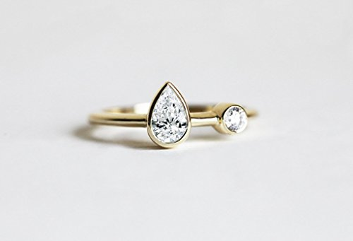 Unique Pear Diamond Ring, Diamond engagement ring, Two diamond ring, Unique engagement ring, Pear diamond band, Simple Engagement