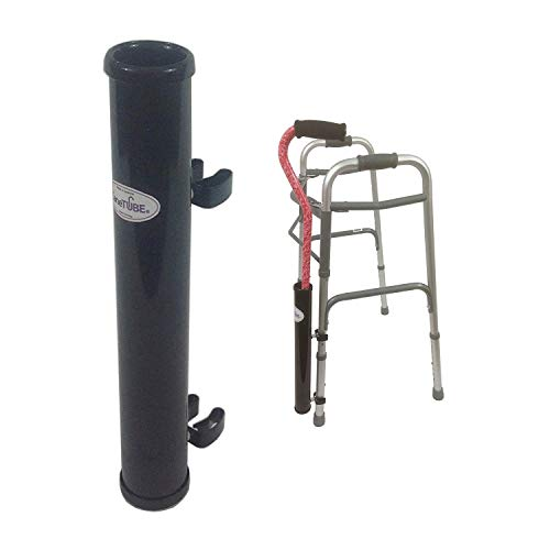 CaneTUBE® Cane Holder for Walker, Rollator and Wheelchair (Black), Walking Cane Attachment for Walkers, Rollators and Wheelchairs with Snap-On Clips and -