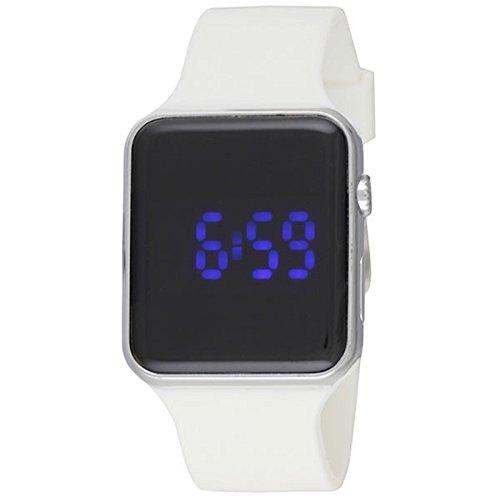 Ravel Reloj Digital de Hombre, LED, Cromo Pulido, con Esfera Negra, Pantalla Digital y Correa de Silicona Blanca Rled. 14: Amazon.es: Relojes