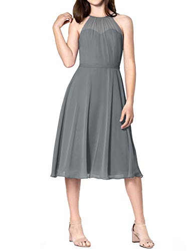 (Short Bridesmaid Dresses Halter Chiffon Prom Homecoming Dress Wedding Party Formal Gowns Petite Size US 6 Steel Grey)