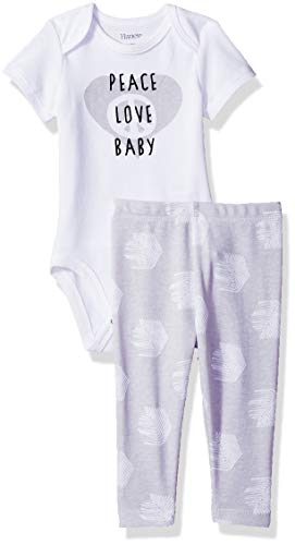 Baby Layette Unisex (Hanes Ultimate Baby Flexy 2 Piece Set (Pant with Short Sleeve Bodysuit), Grey Print 0-6 Months)