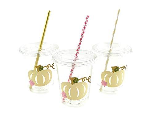 Pumpkin Party Cups - 12 Set Little Pumpkin Baby Shower or Birthday for Kids]()