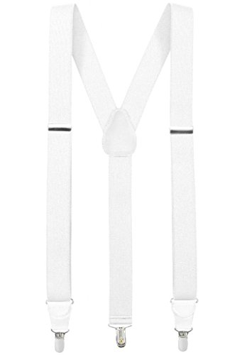 Hold'Em Suspender for Men Made in USA Y-Back Genuine Leather Crosspatch Clip on tuxedo suspenders - White (Tall - 54'') by Hold'Em