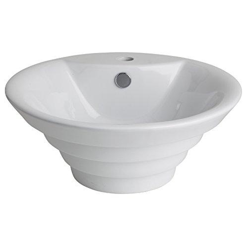 Vasque /à poser blanche et ronde en forme de pyramide invers/ée