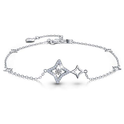Esberry 18K Gold Plated 925 Sterling Silver 5A Cubic Zirconia CZ Lucky Star Ankle Bracelets Charm Adjustable Foot Jewelry for Women and Teen Girls,Gift for Valentine