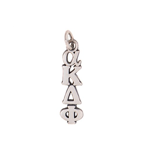 Alpha Kappa Delta Phi Sorority Letter Sterling Silver or 14k Gold Lavalier Necklace with Chain akdphi (Silver)