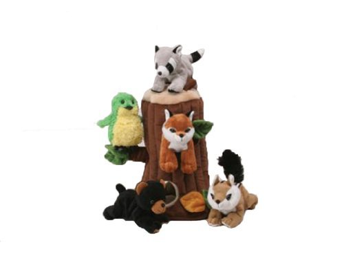 Plush Treehouse with Animals - Five (5) Stuffed Forest Animals by Unipak