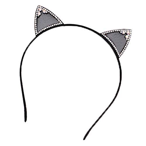 kinmyte Women Girl Cat Ear Rhinestone Headband Halloween Party Hairband Lovely Hair Hoop(Black-1piece)