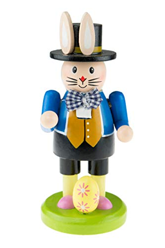 (Clever Creations Gardening Bunny Spring Nutcracker Wearing Top Hat and Pink Shirt | Little Easter Egg at Feet | Collectible Wooden Nutcracker | Festive Holiday Decor | 100% Wood | 6