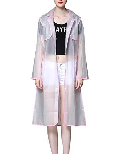 Capucha Largo Capa Con Color Liviano Impermeable De Respirable Casuales Pink Mujeres Sólido Las Battercake Yq75W