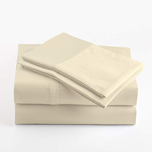 Peru Pima - Temperature Regulating Sheets - 600 Thread Count - 100% Peruvian Pima Cotton - Sateen - Bed Sheet Set - Queen, Ivory