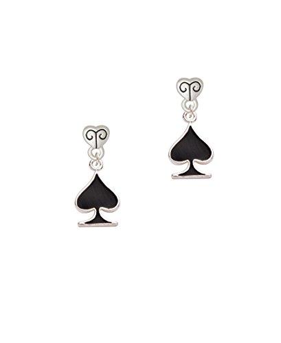 Card Suit - Black Spade - Scroll Heart Earrings
