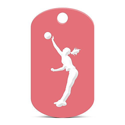 Silouette Girl (Womens Volleyball Keychain GI Dog Tag engraved girl Spike Silouette Pink)