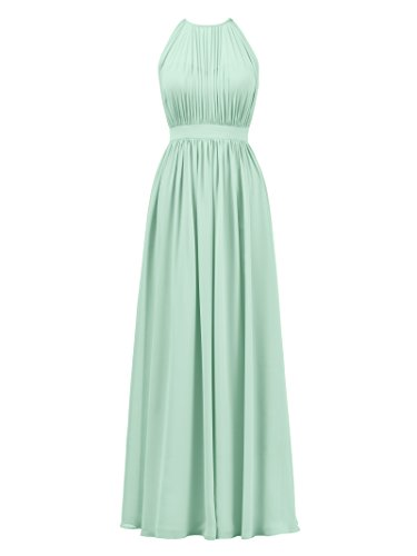 - Alicepub Halter Illusion Bridesmaid Dress Chiffon Formal Evening Prom Gown Maxi, Mint Green, US14