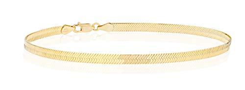 "MiaBella 18K Gold Over 925 Sterling Silver Italian Solid 3.5mm Flat Herringbone Chain Bracelet Men Women 7"", 8"", 9"" (9)"