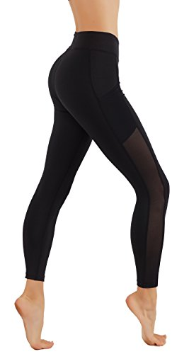 - CodeFit Yoga Pants Dry-Fit Cut Out Mesh Panels in Both Side with Pockets 7/8 Length Running Leggings (L USA 6-8, CF56-BLK)