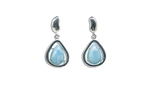 Stone 14k Natural Earrings (Sterling Silver Larimar Jewelry Earrings Classic Fashion Nature Genuine Blue Handmade Larimar Gemstones Earrings for Women and Girls Special for Mother Day …)