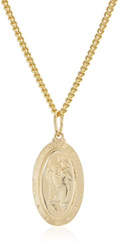 Men's 14k Gold Filled Oval Saint Christopher Medal with Gold Plated Stainless Steel Chain Pendant Necklace, - Saint Gold