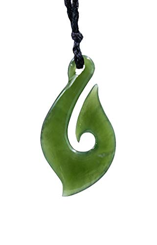 Earthbound Pacific Stylized New Zealand Maori Nephrite Jade Fish Hook Necklace