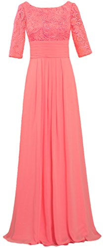 Women's Boat Neck Lace Chiffon Dresses Half Sleeve Evening Gown