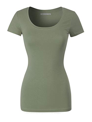 - Design by Olivia Women's Basic Solid Casual Deep Scoop Neck Short Sleeve T-Shirt Light Olive L