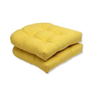Pillow Perfect Outdoor Fresco Yellow Wicker Seat Cushion, Set of 2