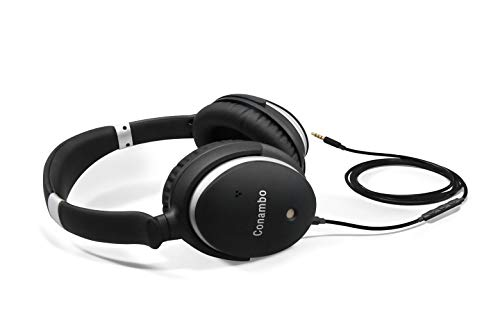 Conambo CQ6 Active Noise Cancelling Headphones Wired, ANC Over Ear Headphones w/Mic and Bluetooth Adaptor, 40 mm Drivers, 40 Hours Playtime for Travel Work Office TV PC Cellphone