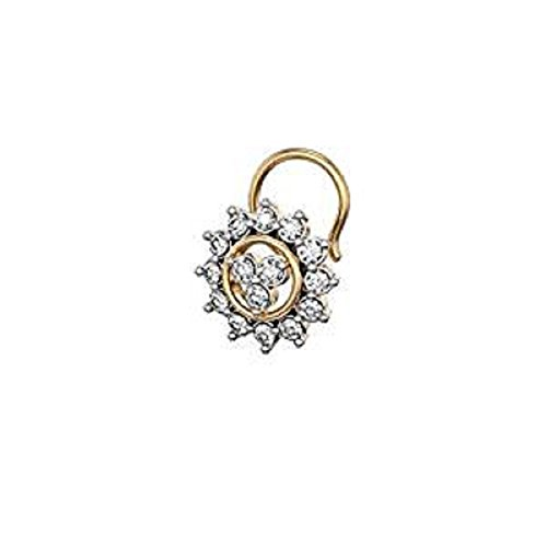Silvergemking 14k Yellow Gold PL D/VVS1 Diamond Flower Cluster Nose Pin For Womens & (14k Gold Flower Pin)