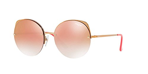 Vogue Women's Metal Woman Non-Polarized Iridium Round Sunglasses, Light Pink Gold, 55 - Glasses Women Vogue