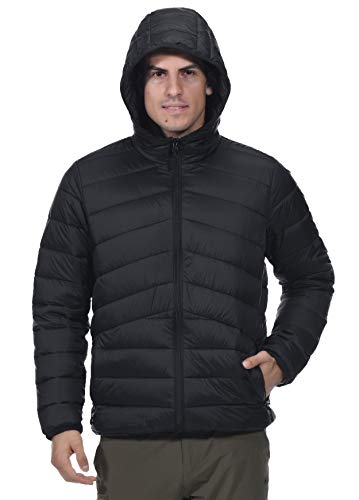 (MIER Men's Packable Hooded Puffer Jacket Water-Resistant Lightweight Insulated Outerwear Coat, 3M Thinsulate Filling, YKK Zip, Black, L)