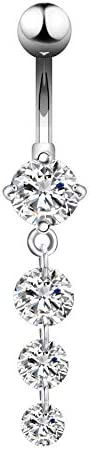 Long Belly Bars 316L Stainless Steel Navel Piercing Jewellery Round Cubic Zirconia Dangle