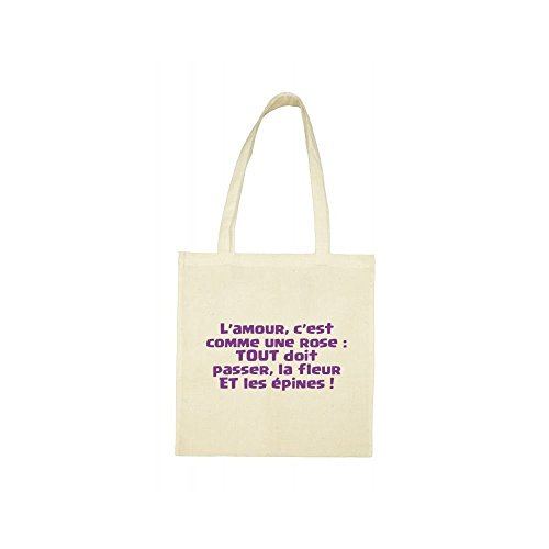 Tote citation Tote bag amour beige beige bag wfwgWa7q