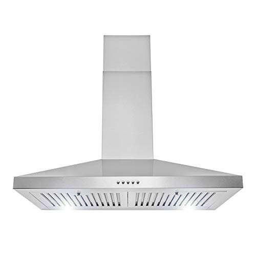 """AKDY 30"""" Wall Mount Range Hood in Stainless Steel with LEDs, Push Control and Carbon Filters"""