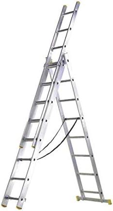 WOLFPACK LINEA PROFESIONAL 23020007 Escalera Aluminio 3 Tramos 9 Peldaños: Amazon.es: Bricolaje y herramientas